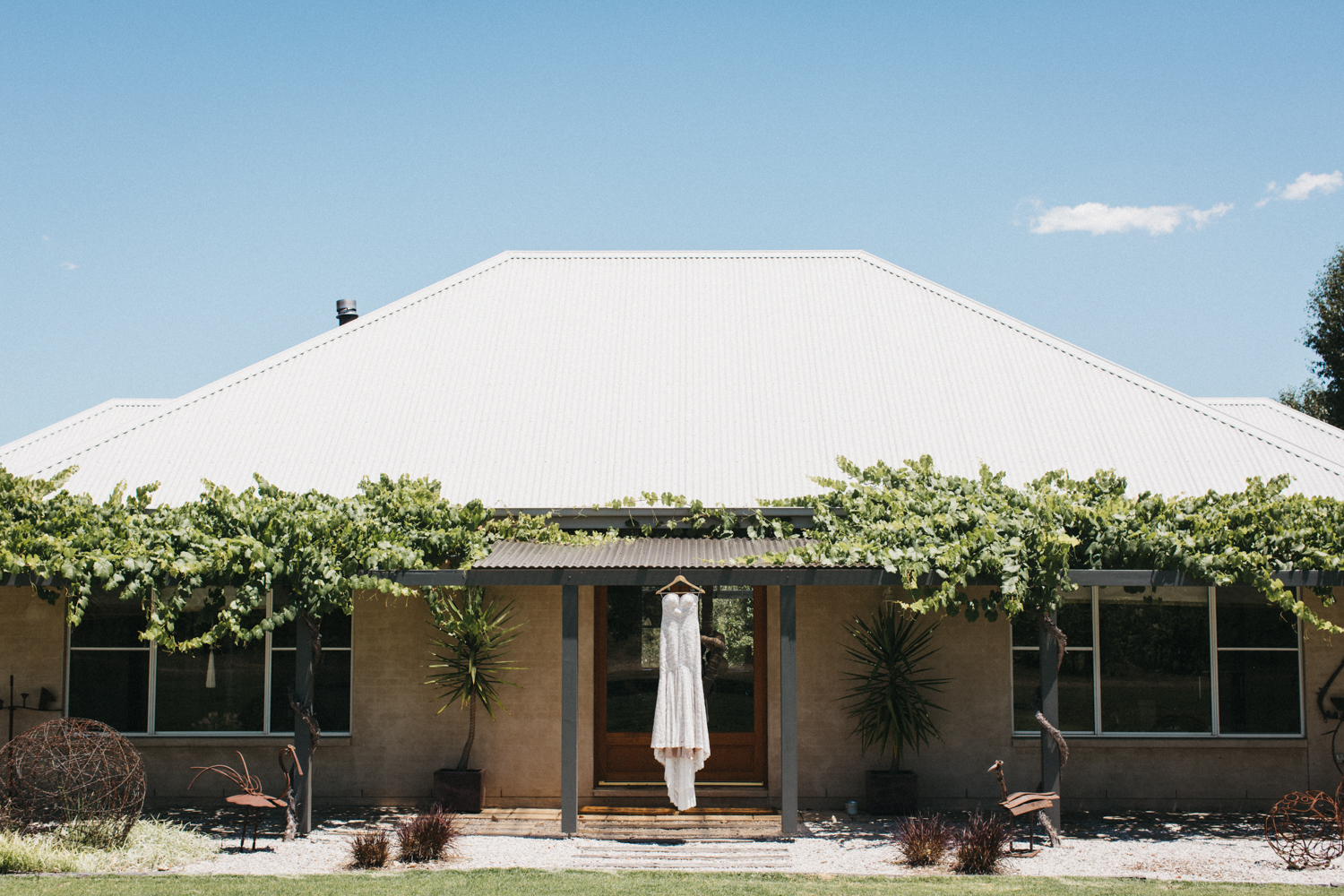 Mels Wedding dress in Mudgee at the vinegrove from Hope and page